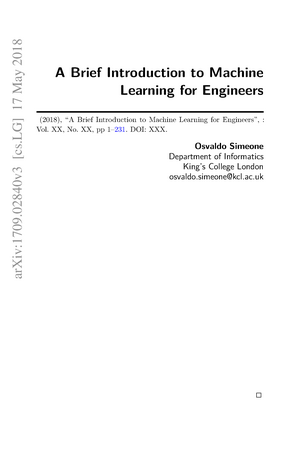 A Brief Introduction to Machine Learning for Engineers - 101