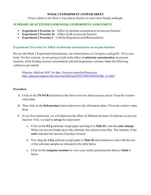 Experiment 2 - BI 114 General Biology - Park University