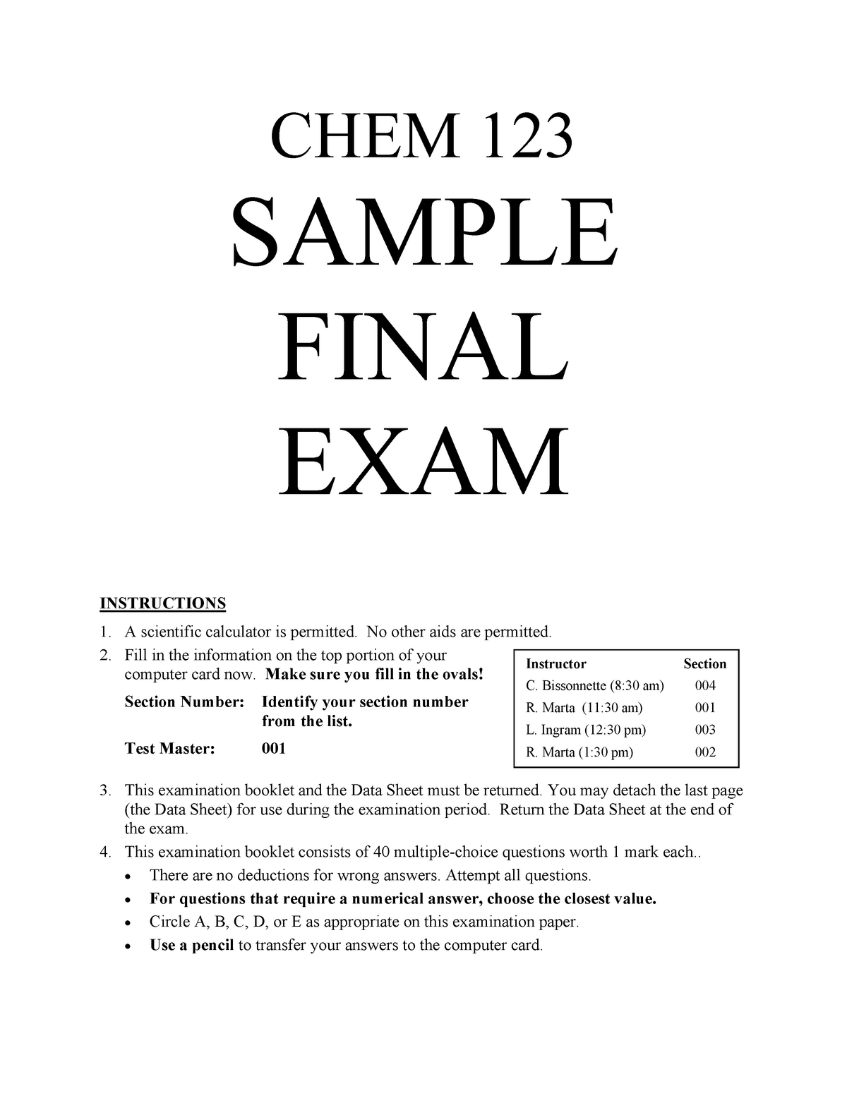 Final exam April 2018, questions and answers - Chem 123