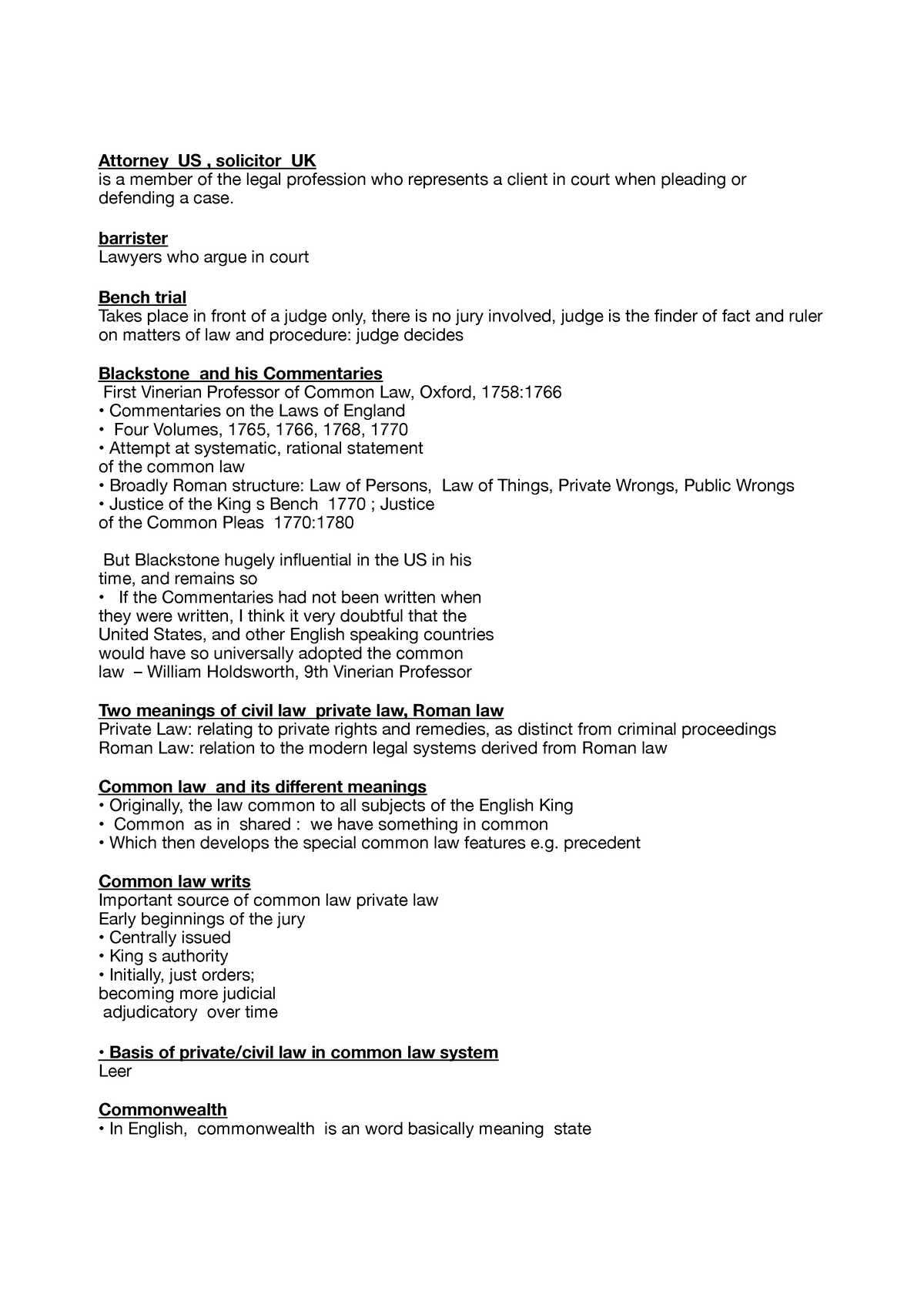 Common Law Legal System Exam List - 031690 - WWU - StuDocu