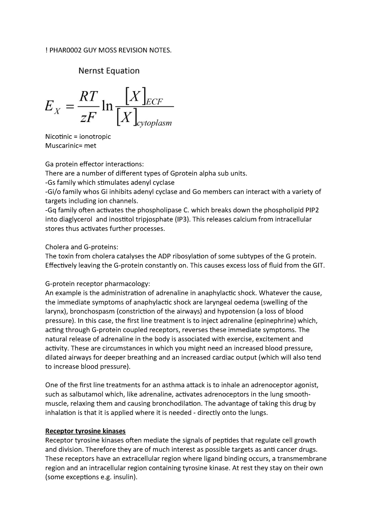 PHAR0002 GUY MOSS Revision Notes - PHAR2002 - StuDocu