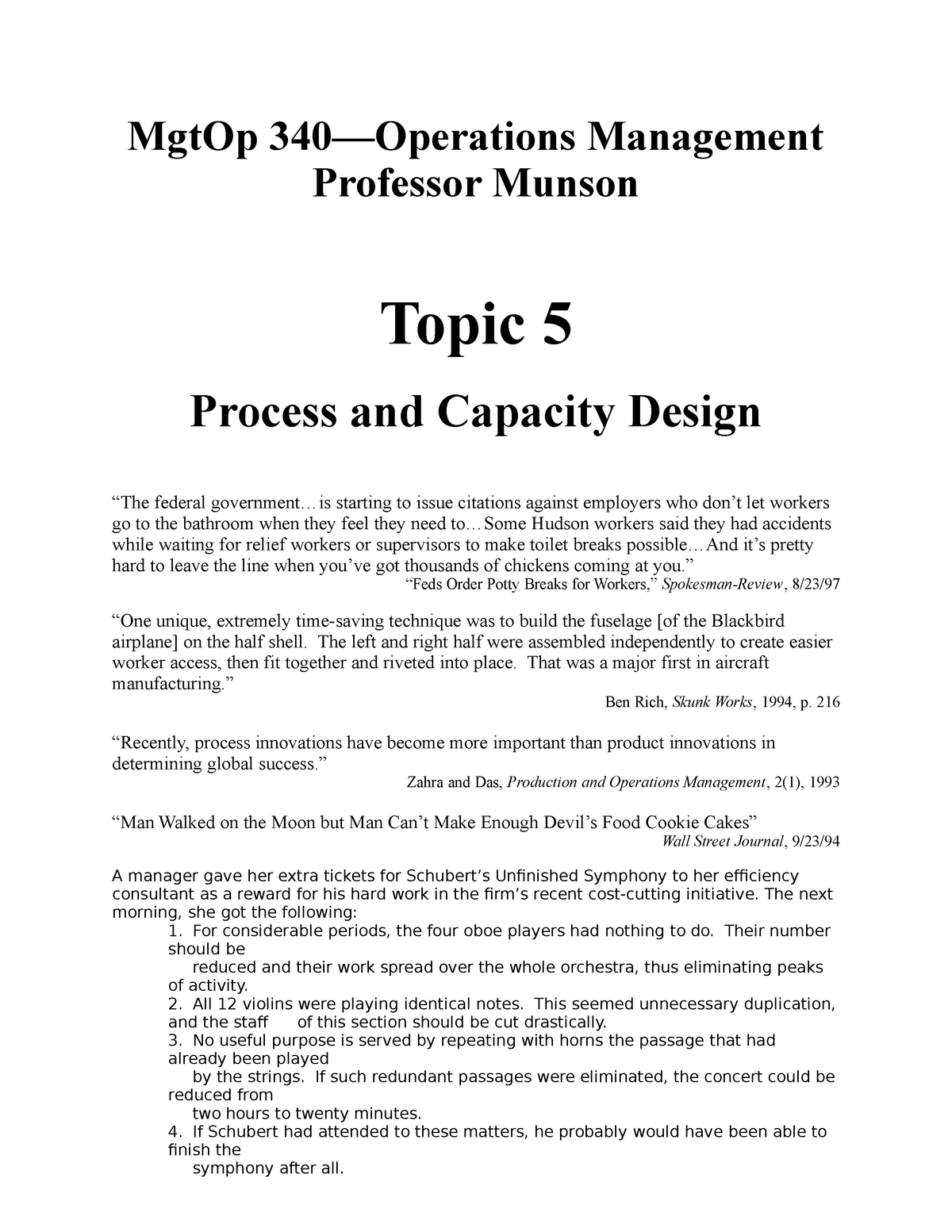 Topic 5 - Process and Capacity Design - MGTOP 340 - WSU