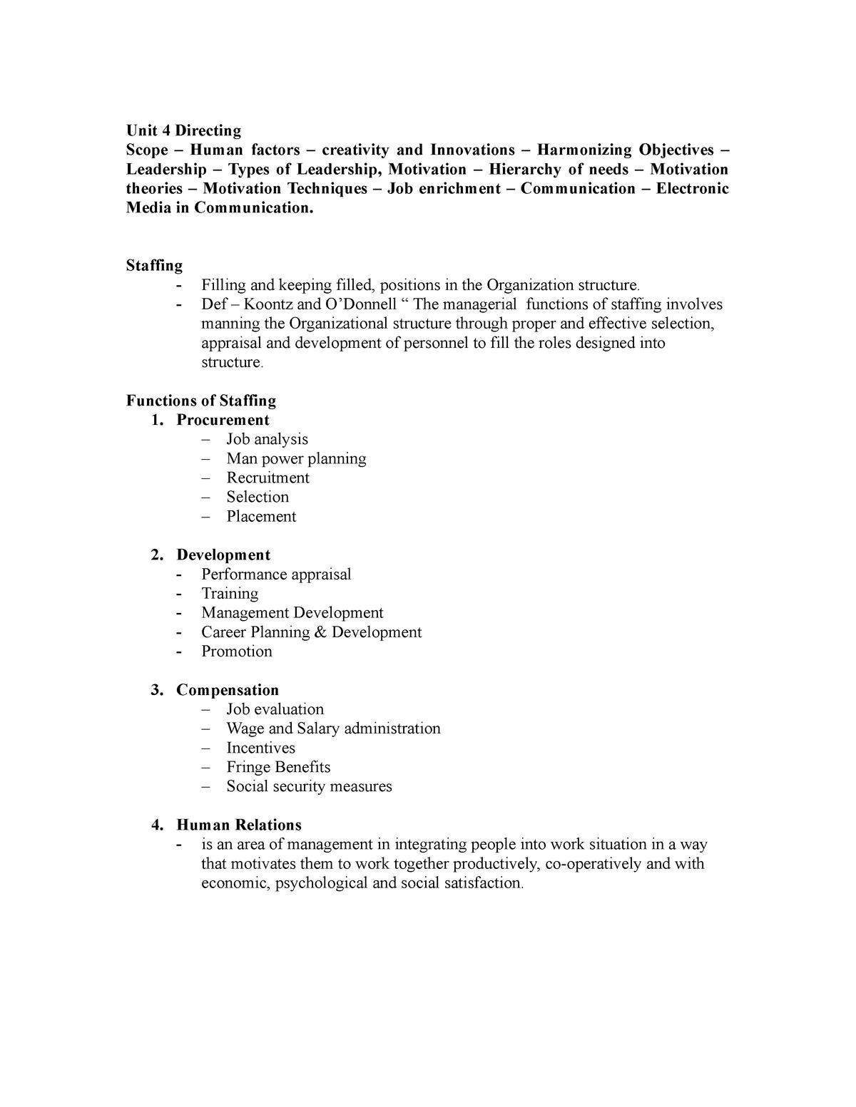 Unit 4 - leadership & directing - Management Principles