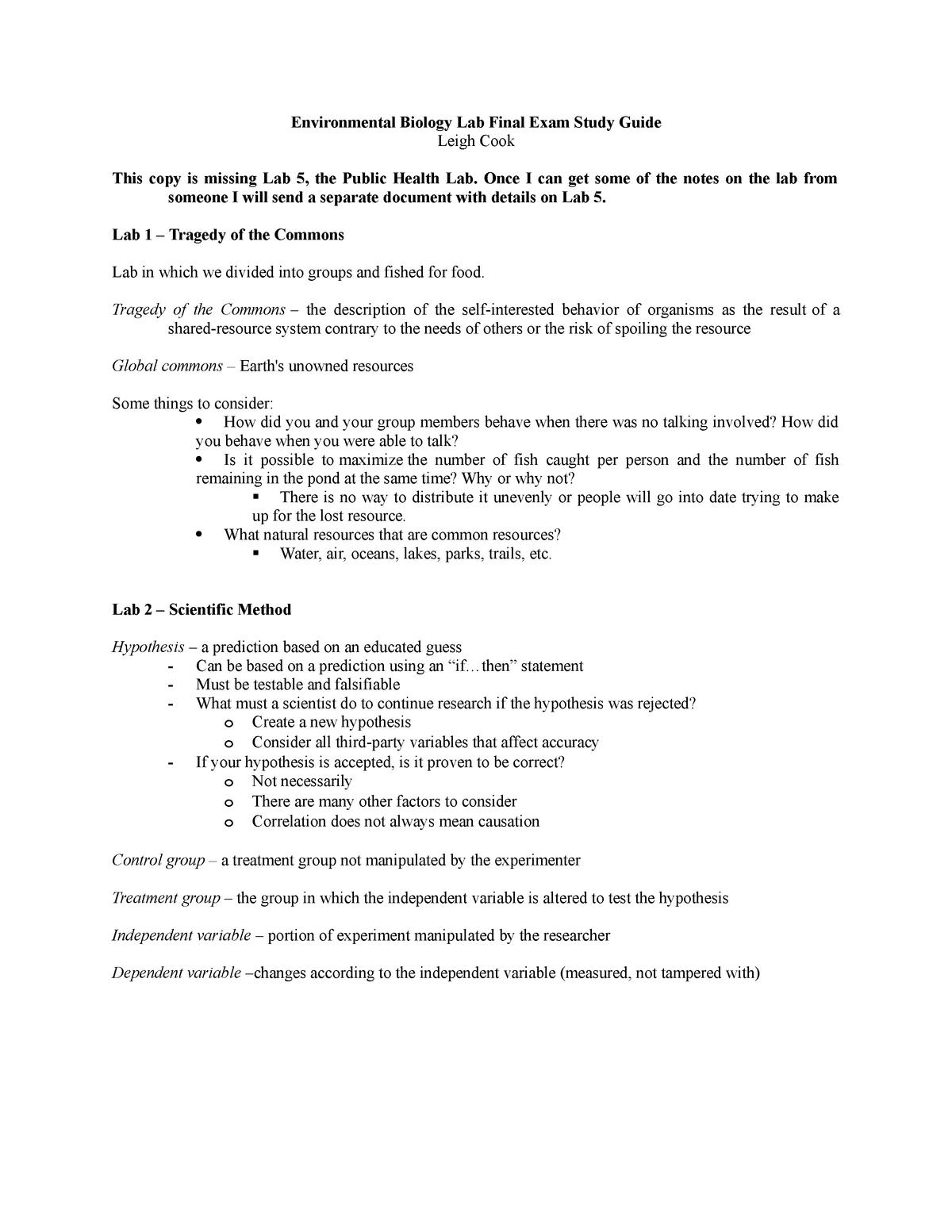 Environmental Biology Lab Final Exam Study Guide - BI 105B