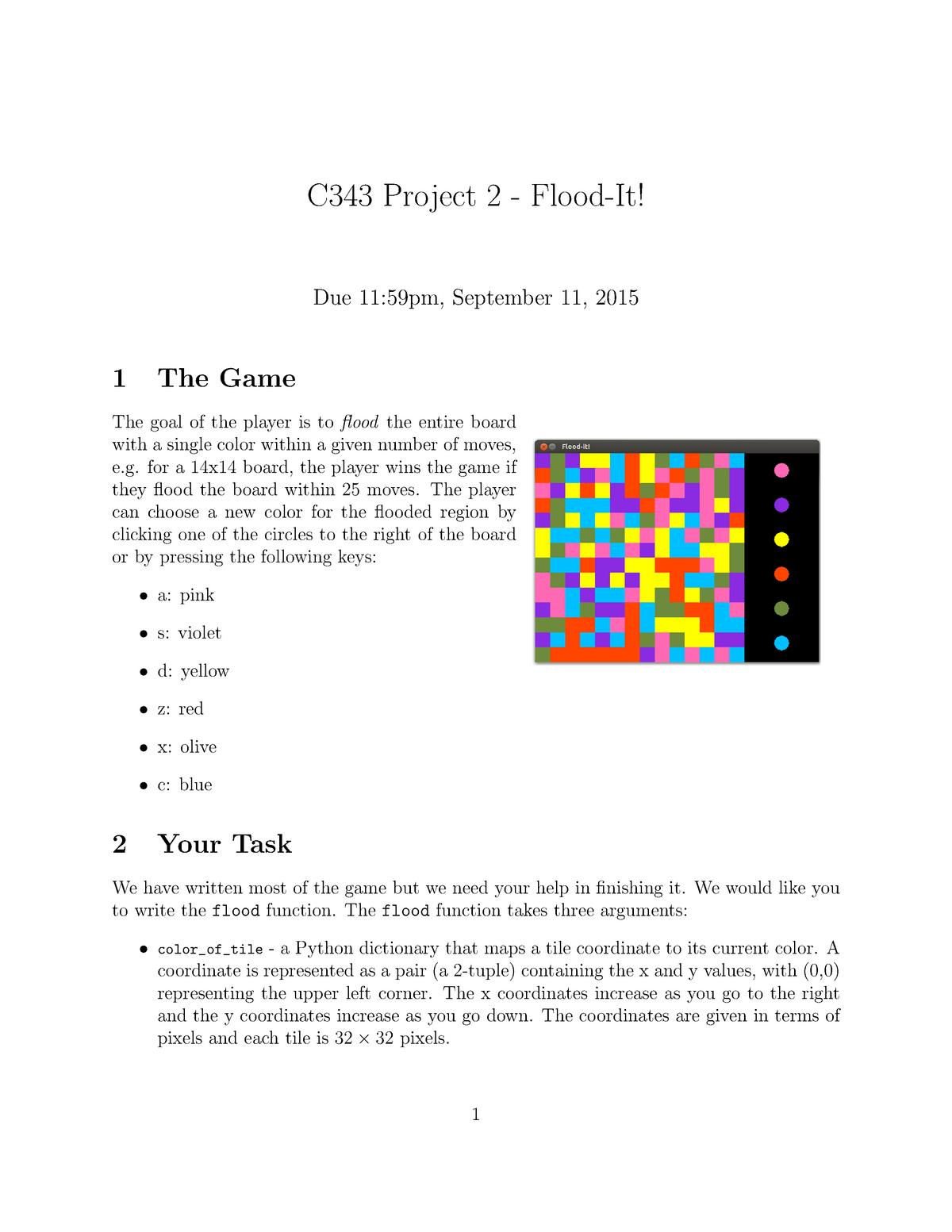 Seminar assignments - Project 2- flood-it! - CSCI-C 343
