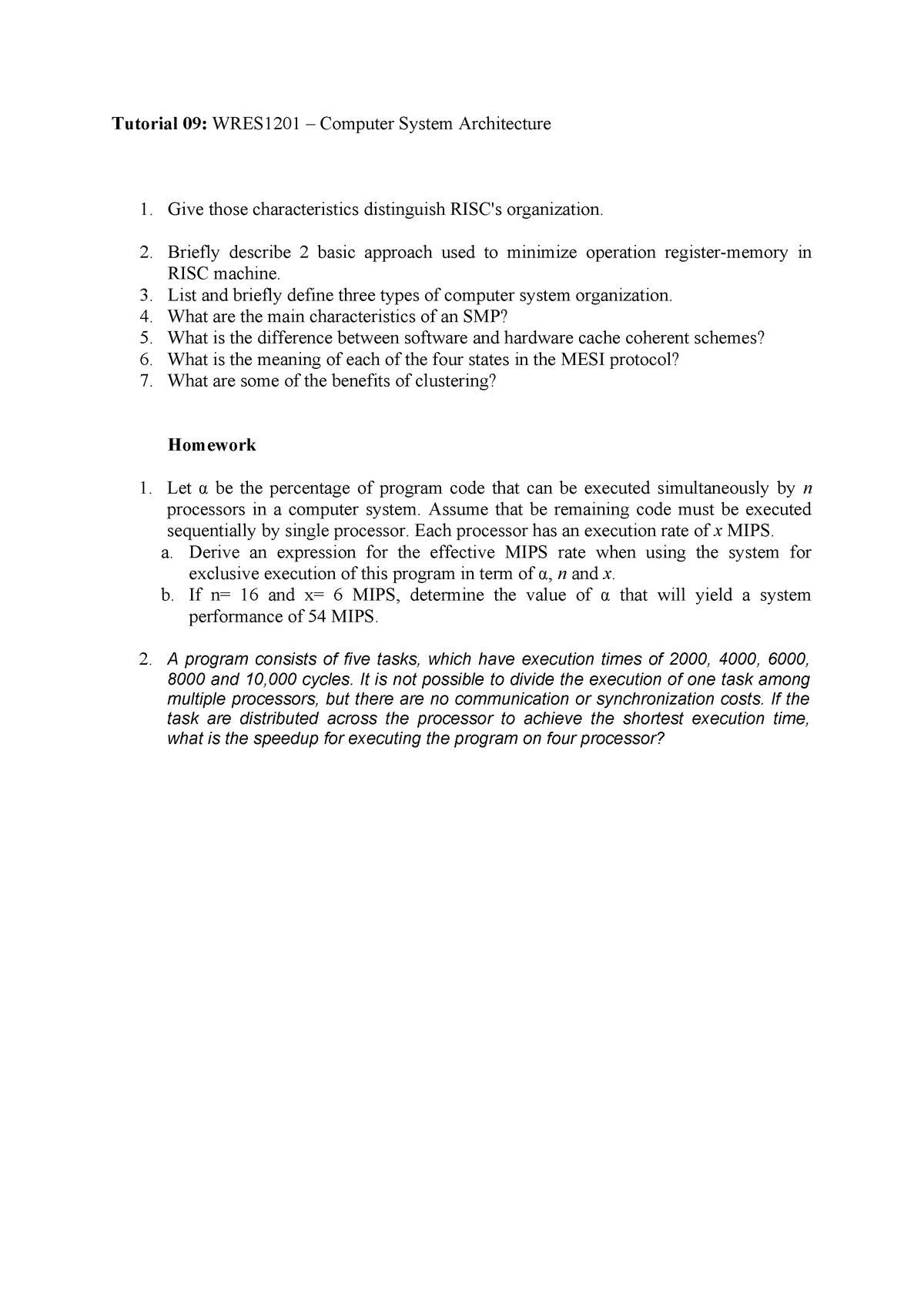 Tutorial 9 CISC v RISC - Complex Instruction Set Computer