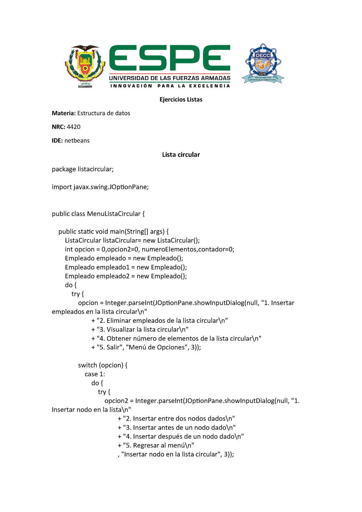 Lista Circular Simple Nota 10 Estructura De Datos Studocu