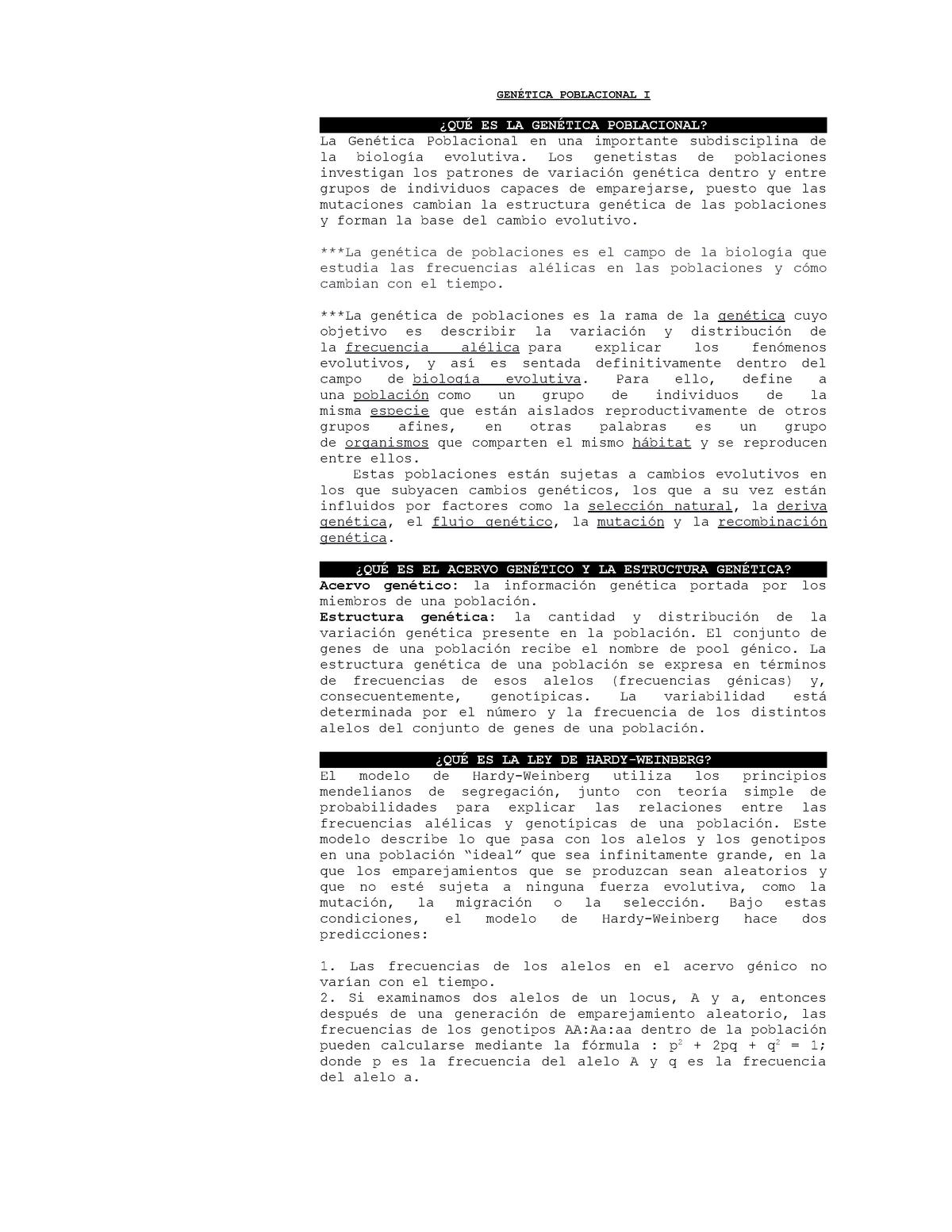 Cap 25 Genética Poblacional I 9619 Genética Studocu