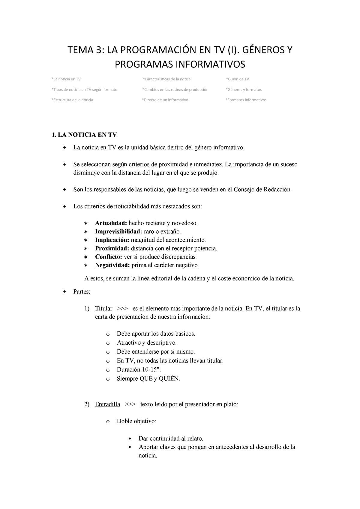 Tema 3 La Programación En Tv I Géneros Y Programas
