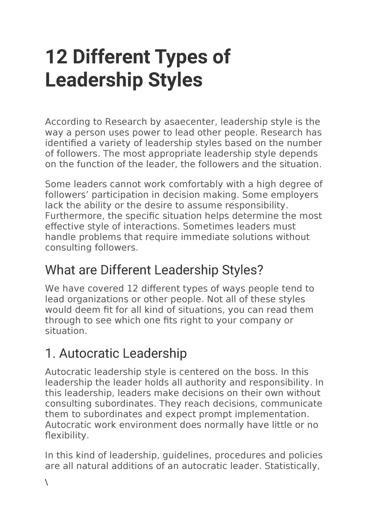 leadership styles in management