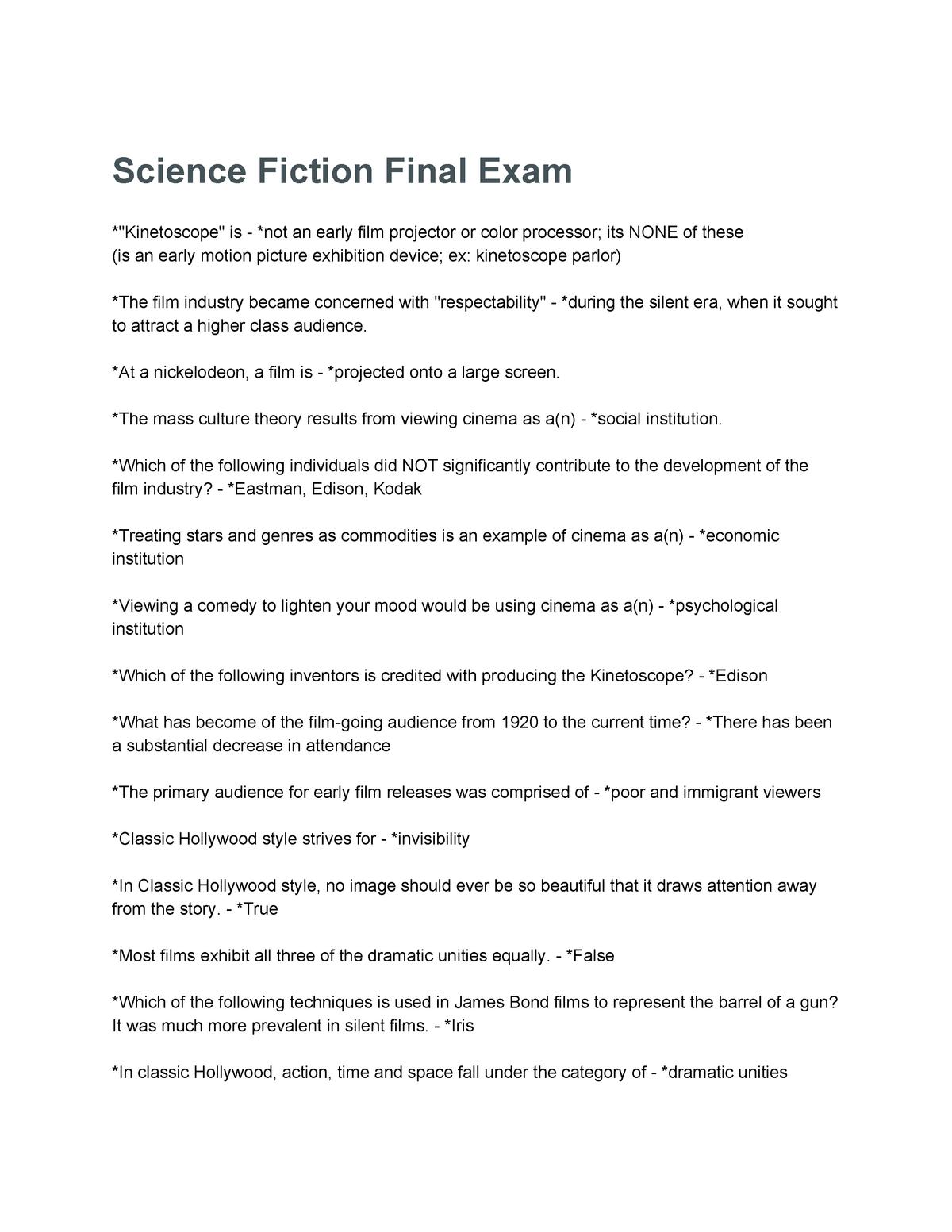 Exam 2017 - ENGL 3840: Science Fiction - StuDocu