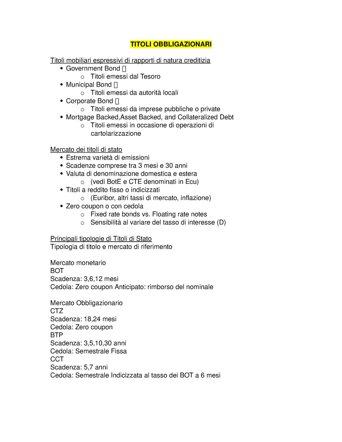 097e5adbf2 Titoli obbligazionari - Economia degli intermediari finanziari - StuDocu