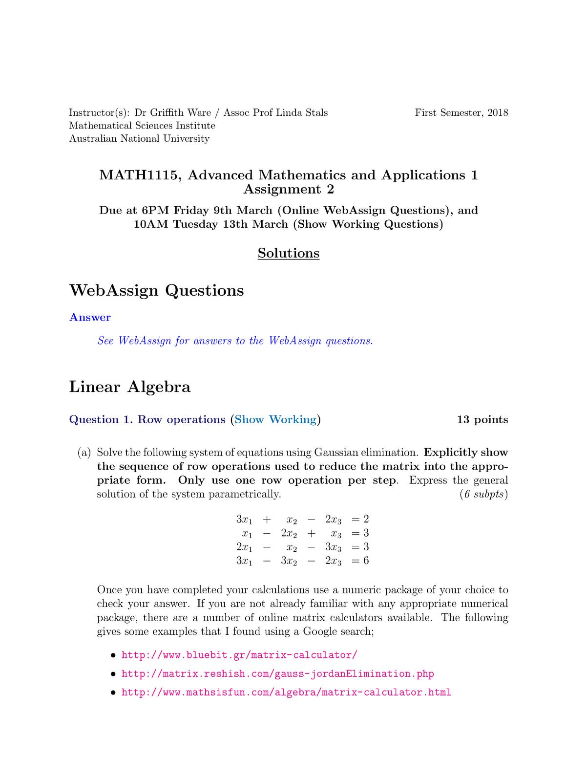 MATH1115 S1 2018 Assignment 02 a - MATH1115: Mathematics and