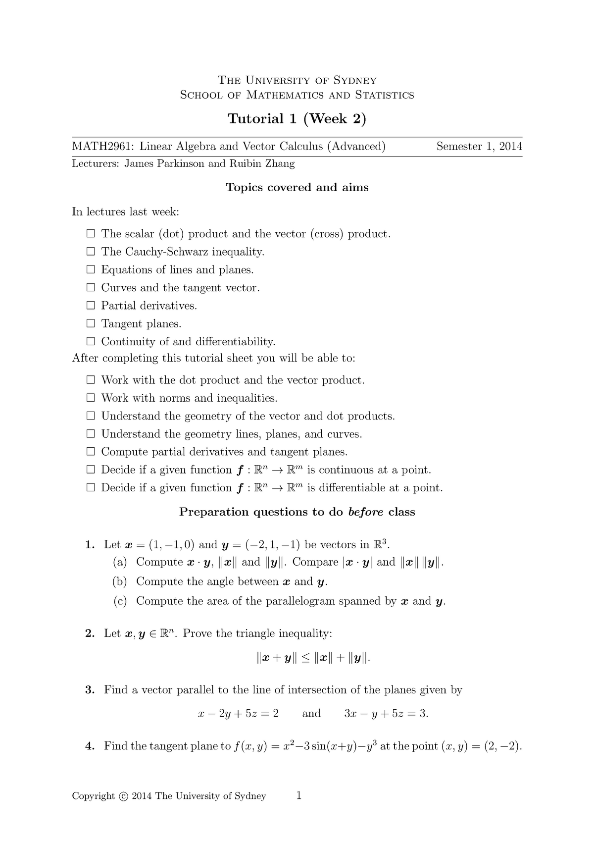 Tutorial work - tutorial worksheet questions - MATH2961
