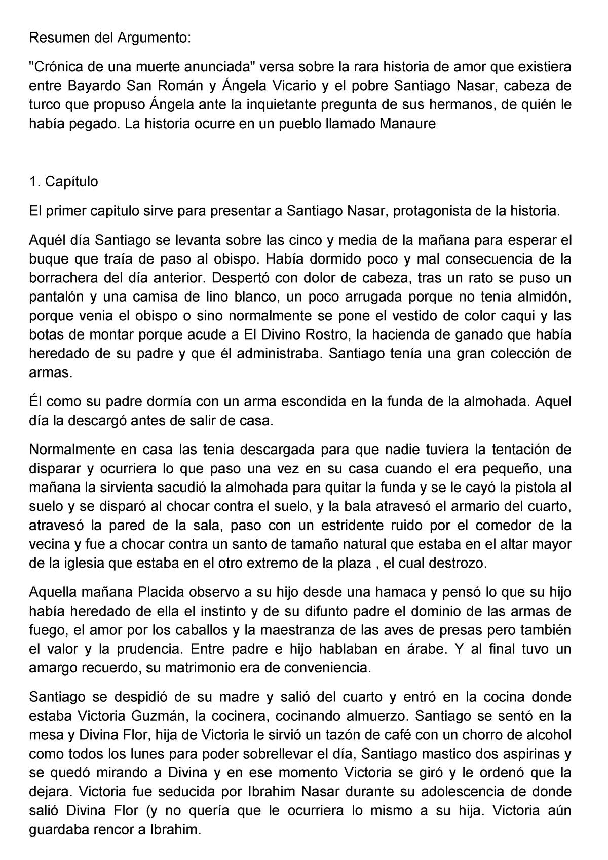 Resumen Cronica De Una Muerte Anunciada Studocu