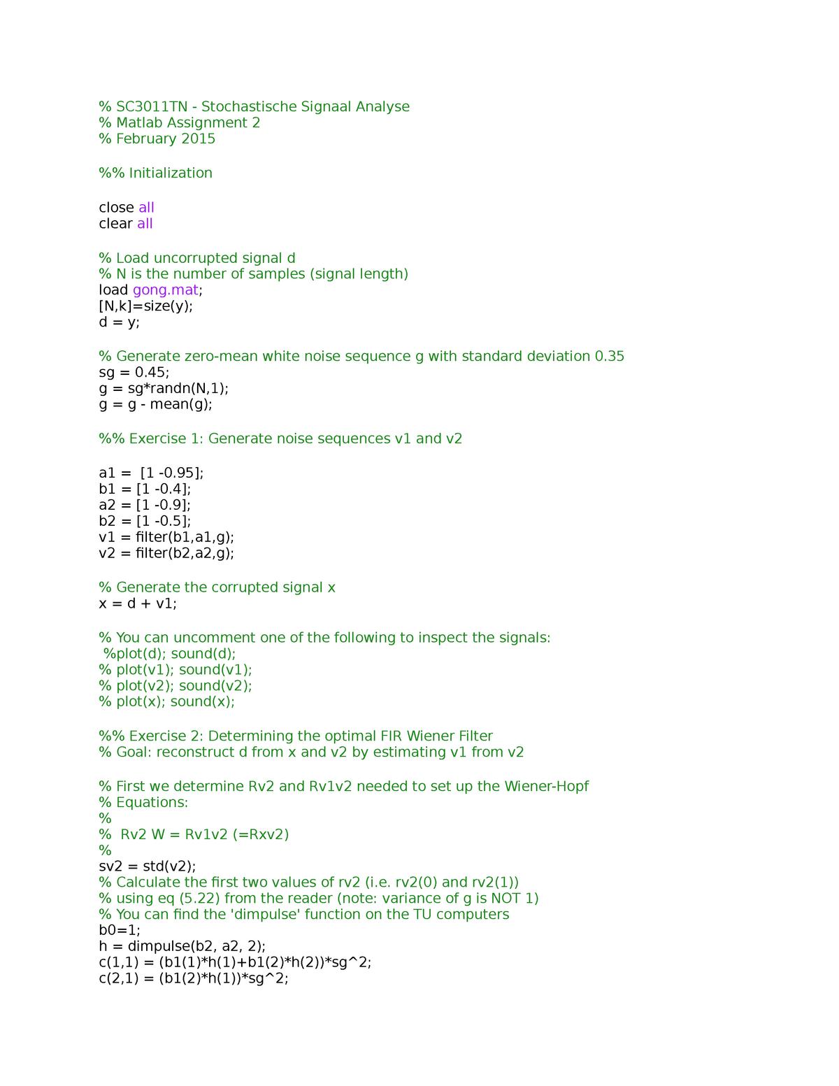 SSA Matlab 2 - SC3011TN: Stochastic Signal Analysis