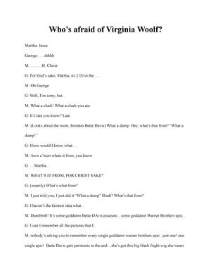 Whos Afraid Of Virginia Woolf Script Pdf
