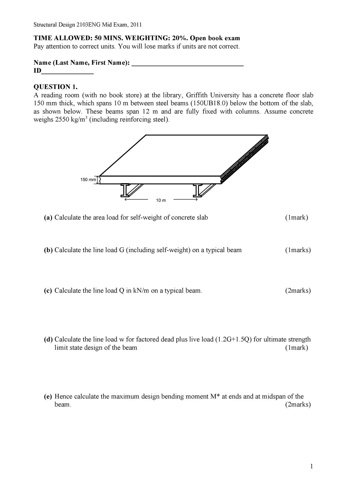Exam 2011 - 2103ENG: Structural Design - StuDocu