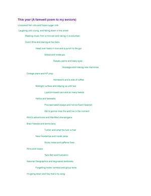 This year (A farewell poem to my seniors) - ENG 520: Poetry
