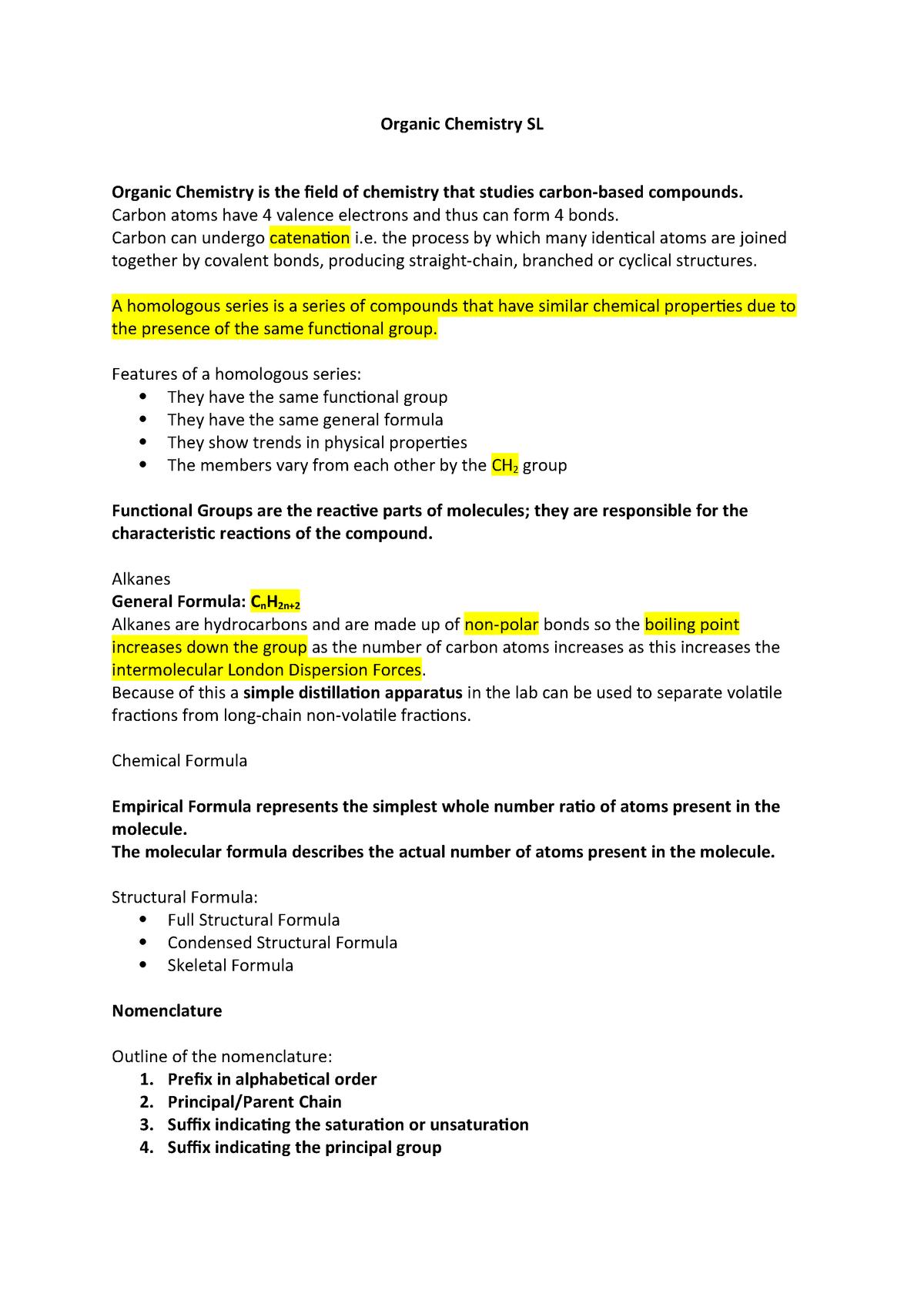 Organic Chemistry Notes - CHEM 31L - Duke University - StuDocu
