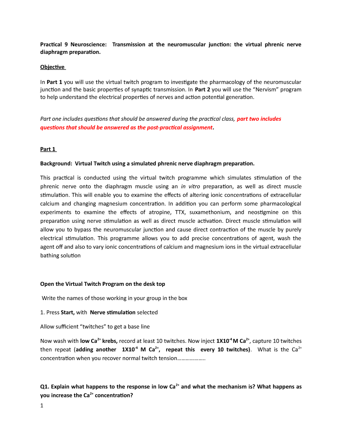 Biomolecular lab skills Lab manual 9 - BMOL20070