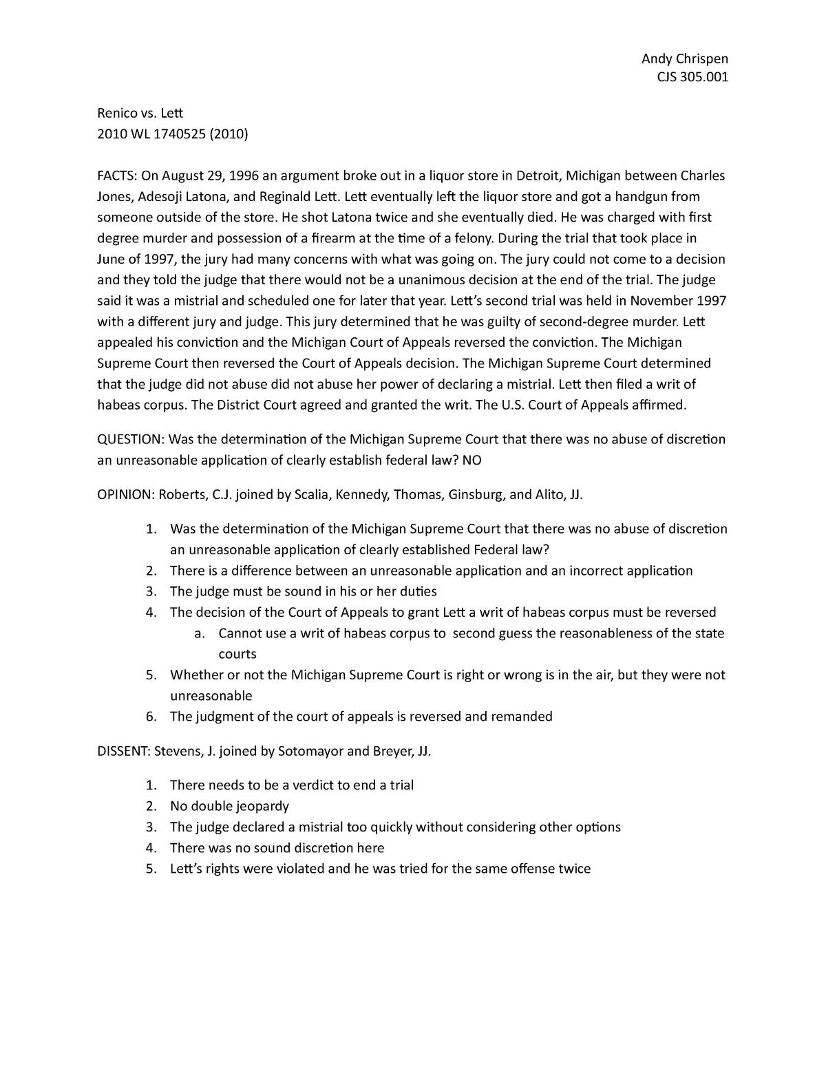 Renico vs  Lett - case brief - CJS 305: Rules Of Evidence
