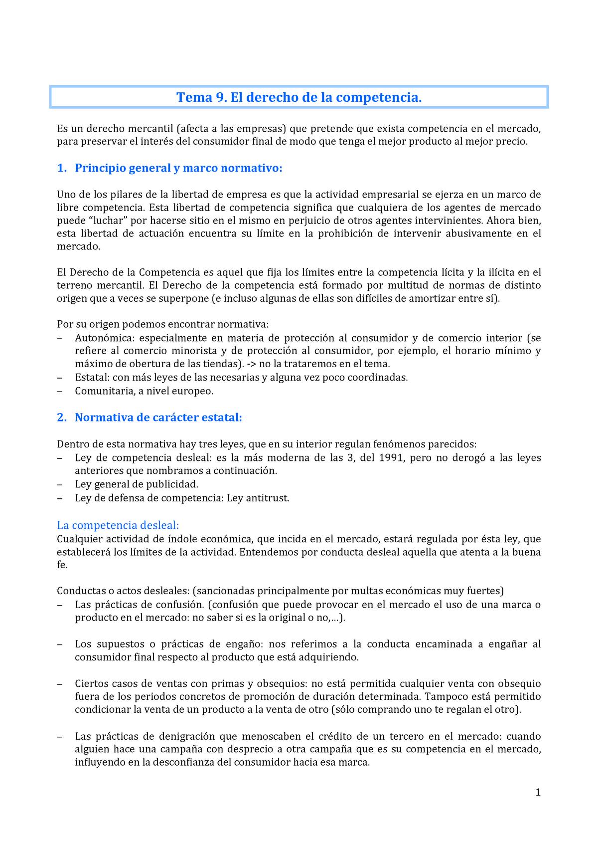 Tema 9  El Derecho de Competencia - Derecho de Empresa - StuDocu