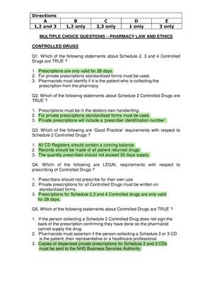 Controlled Drugs MCQs - Summary Pharmacy Practice - - Port