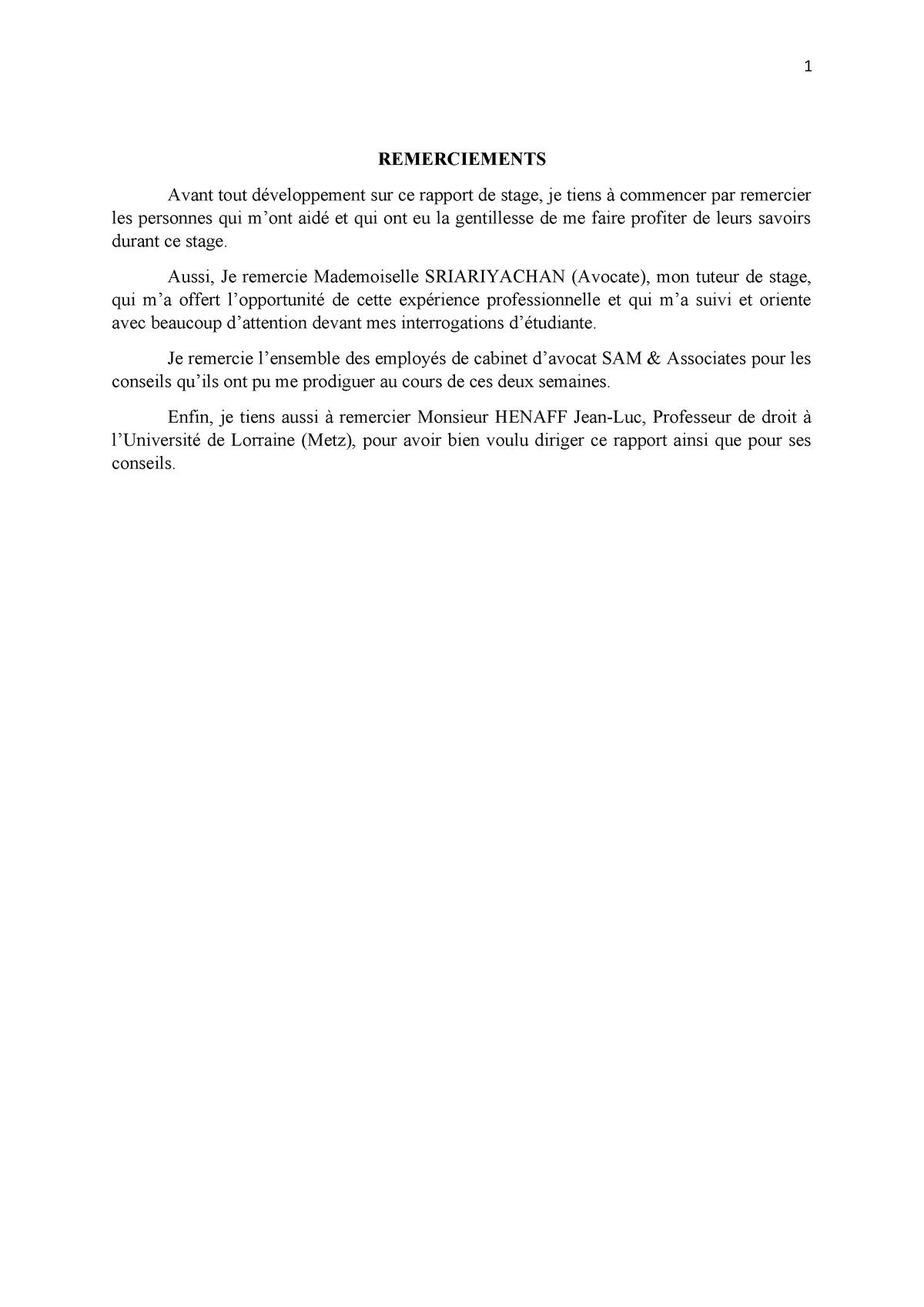 Rapport Du Stage 1 Lorraine Studocu