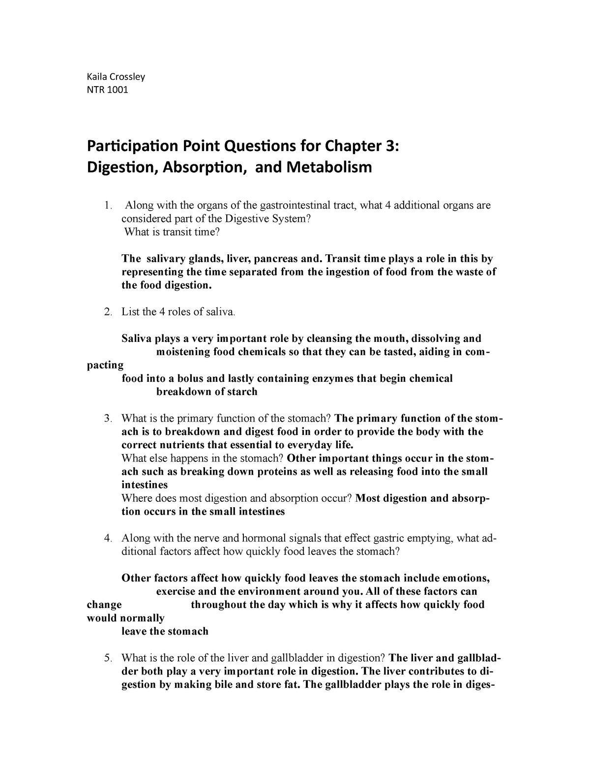 Participation Point Questions for Chapter 3, revised 2016