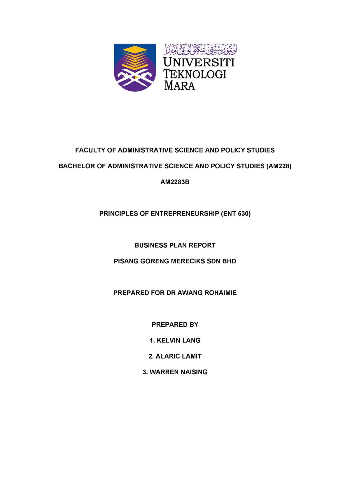 Ent530 Business Proposal Report Studocu