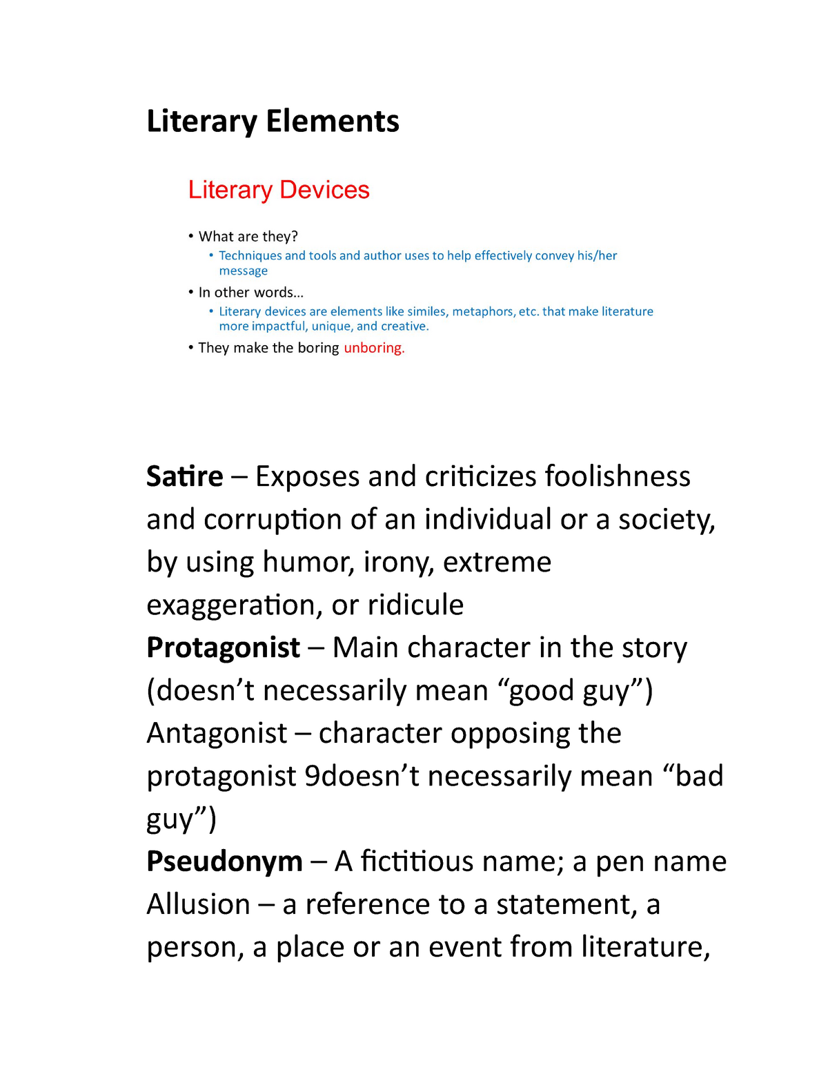 Literary Elements Summary English Eng 283r Bu Studocu