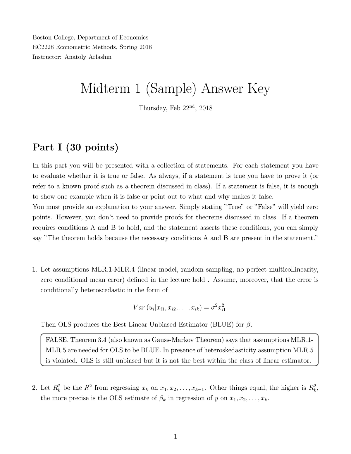 Midterm 1 Spring 2018, answers - ADEC732001 Econometrics