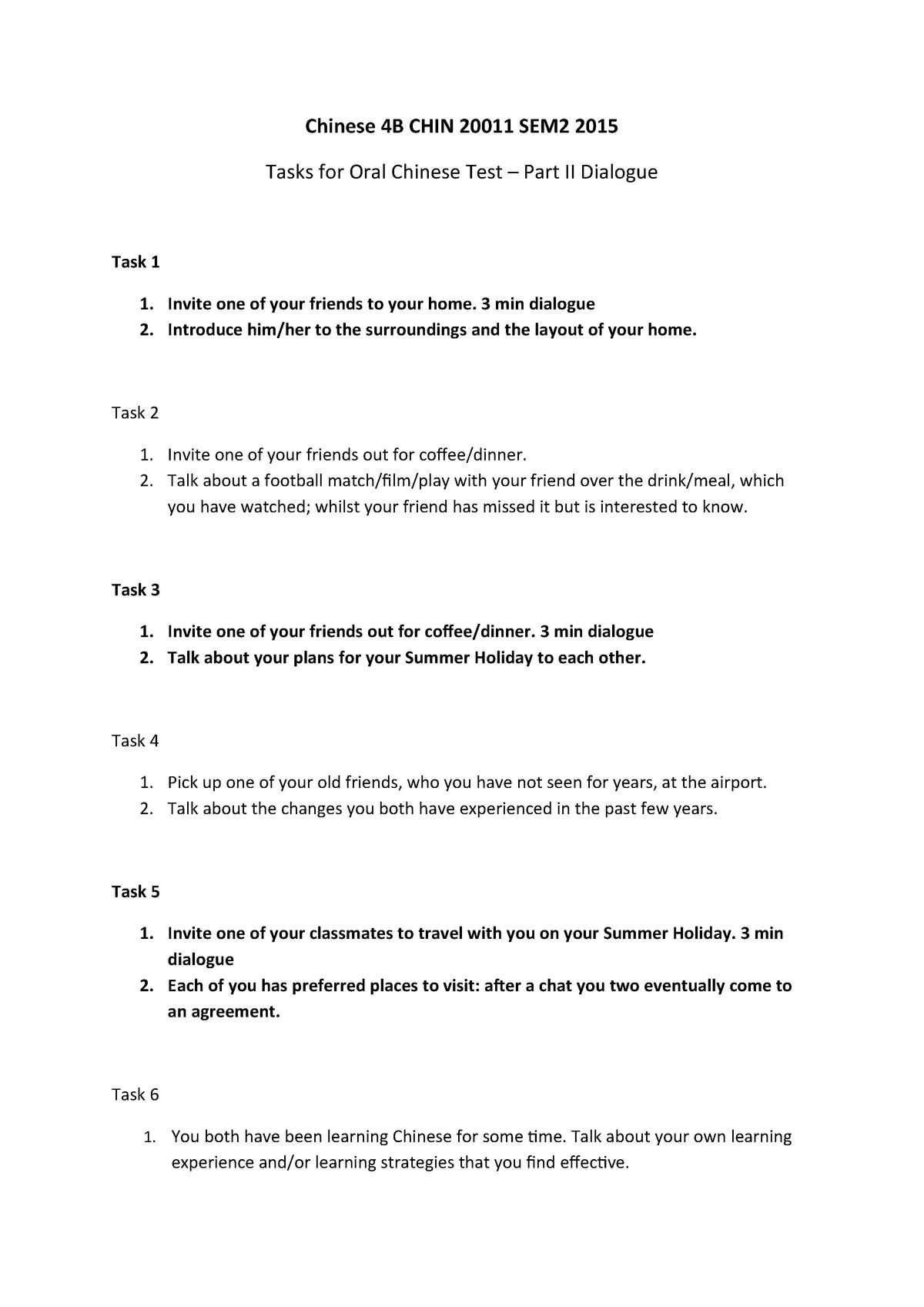 Exam 2015 - CHIN20011: Chinese 4B - StuDocu