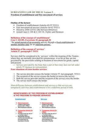 Substantive LAW OF THE EU Lecture 5 - JUR-2SUBSTANTIVE