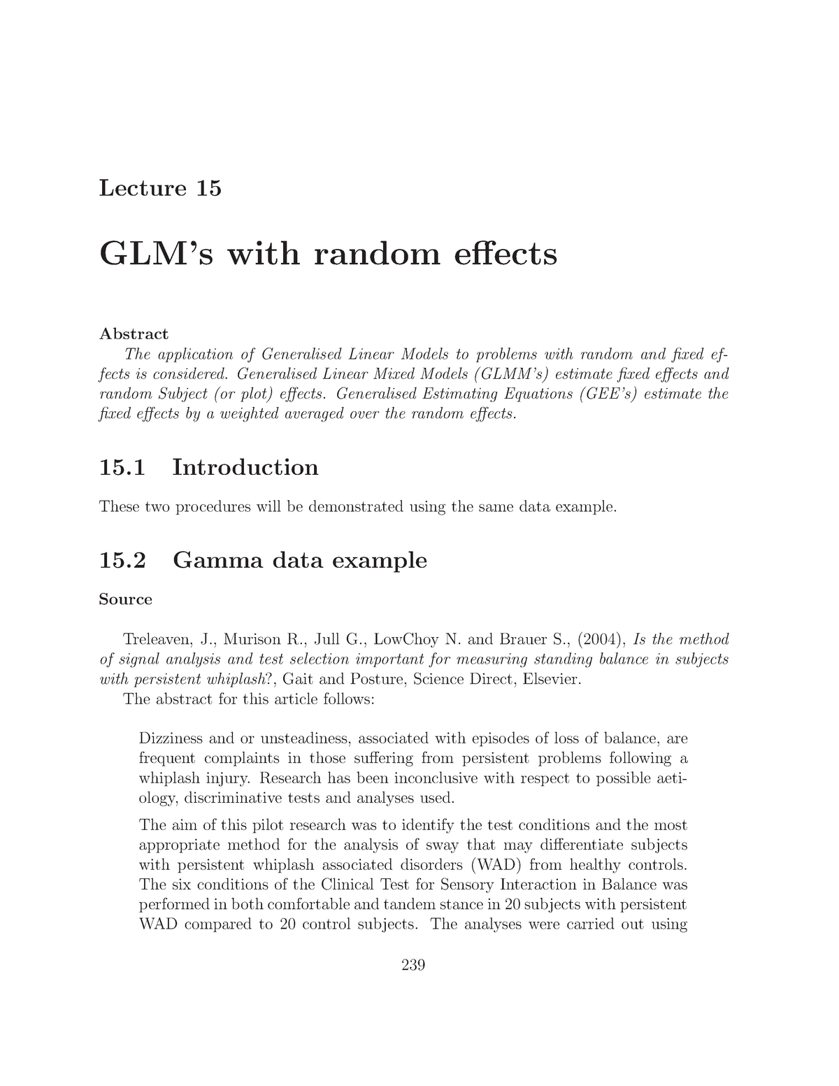 STAT 300 Lecture 15 - GLM's with Random Effects - STAT300