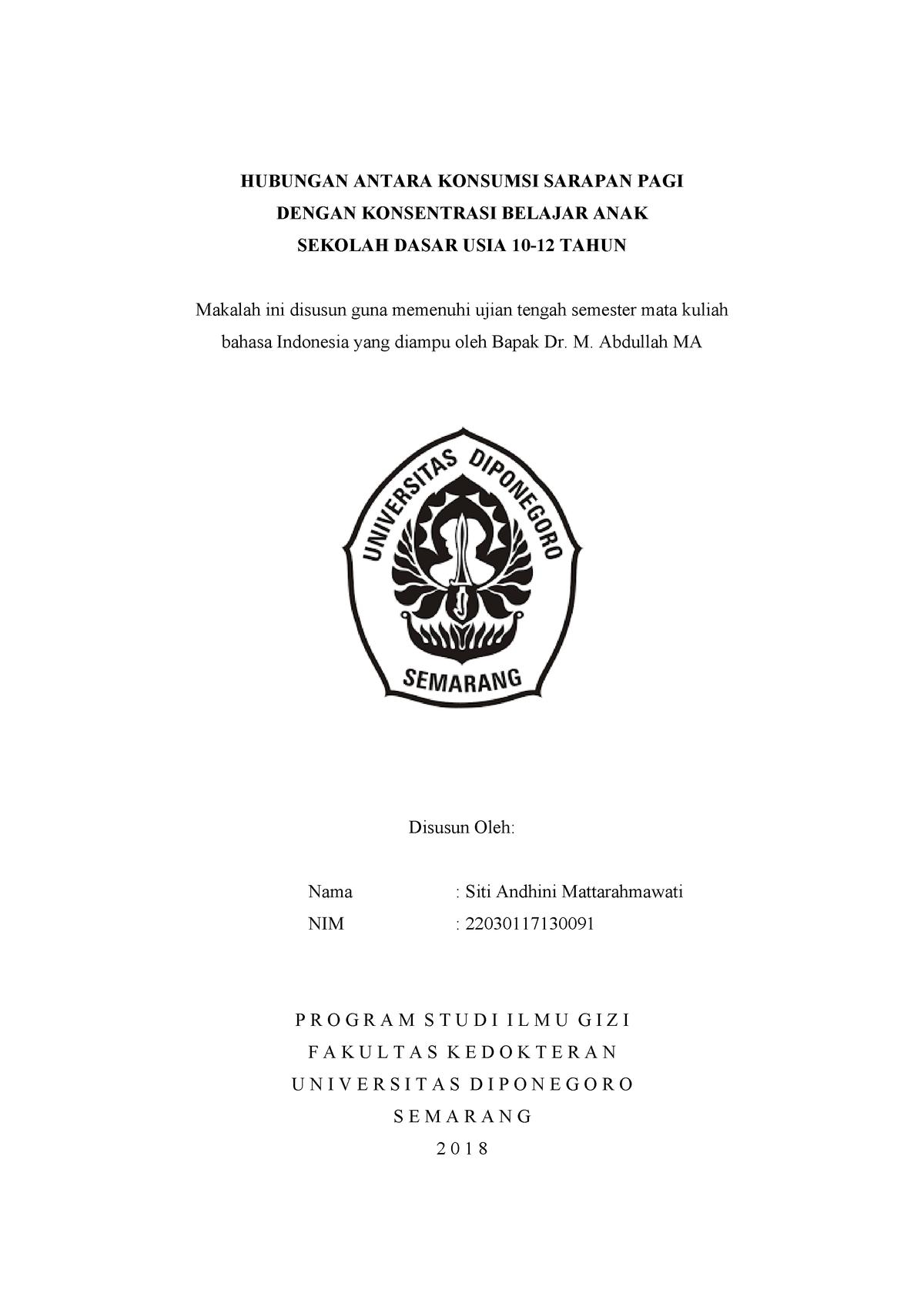 Makalah Tugas Uts Bahasa Indonesia Studocu