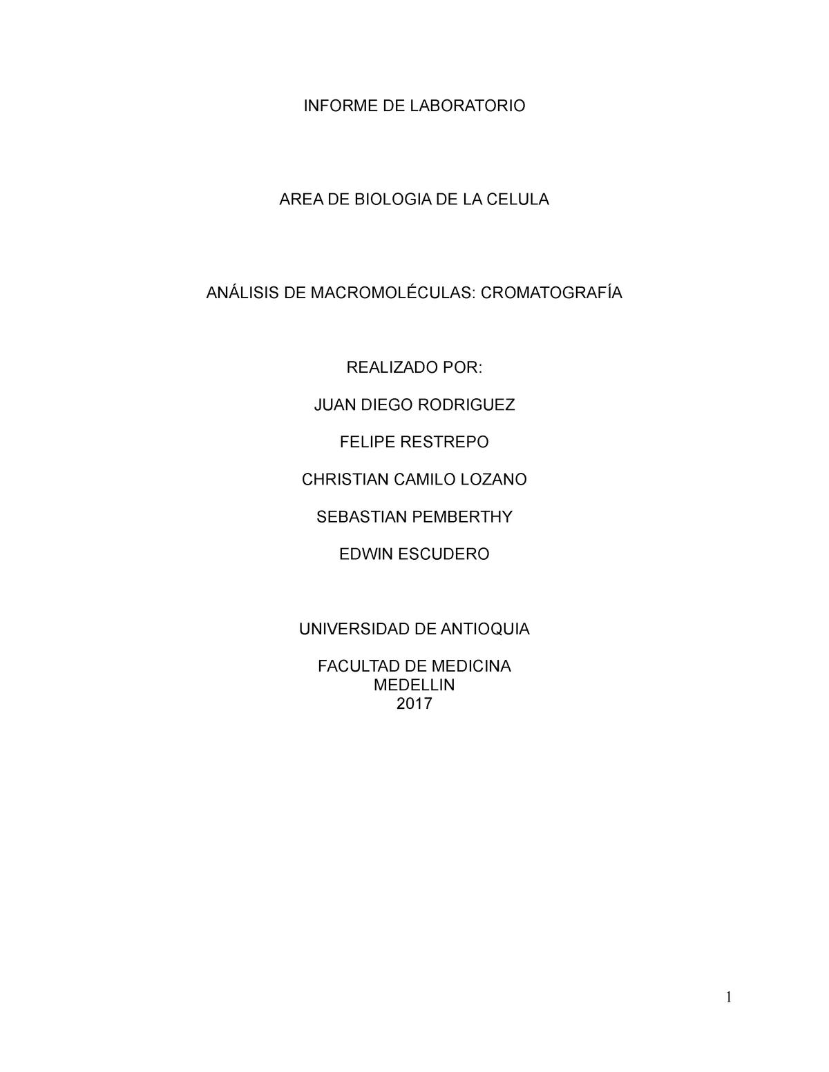 Lab 2. Análisis de Macromoléculas - 3021102 - UdeA - StuDocu