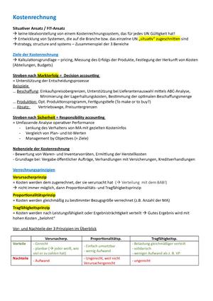 zusammenfassung kostenrechnung internes externes rechnungswesen - Kostenrechnung Beispiele