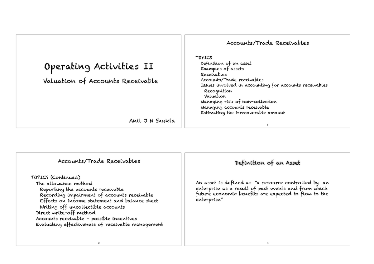 AD1101 Seminar 5a Accounts Receivable - Financial Accounting