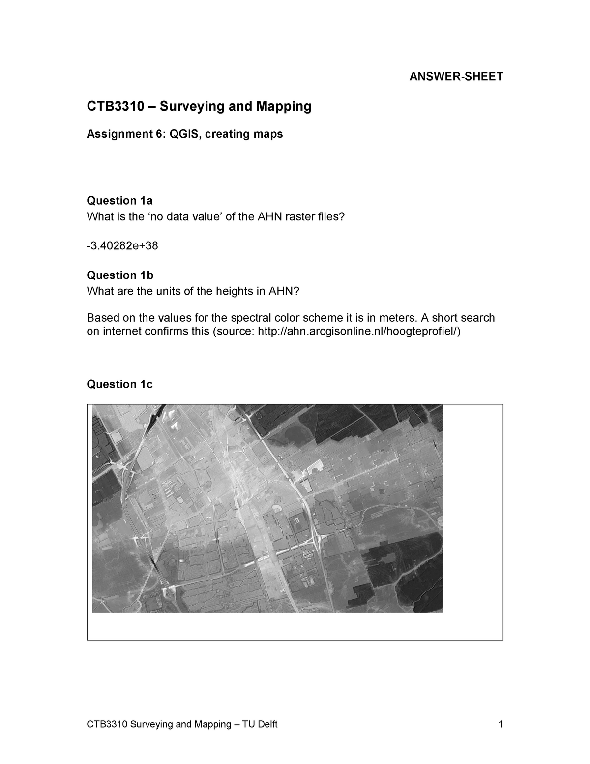 Assignment 6 answersheet - CTB3310: Surveying and Mapping