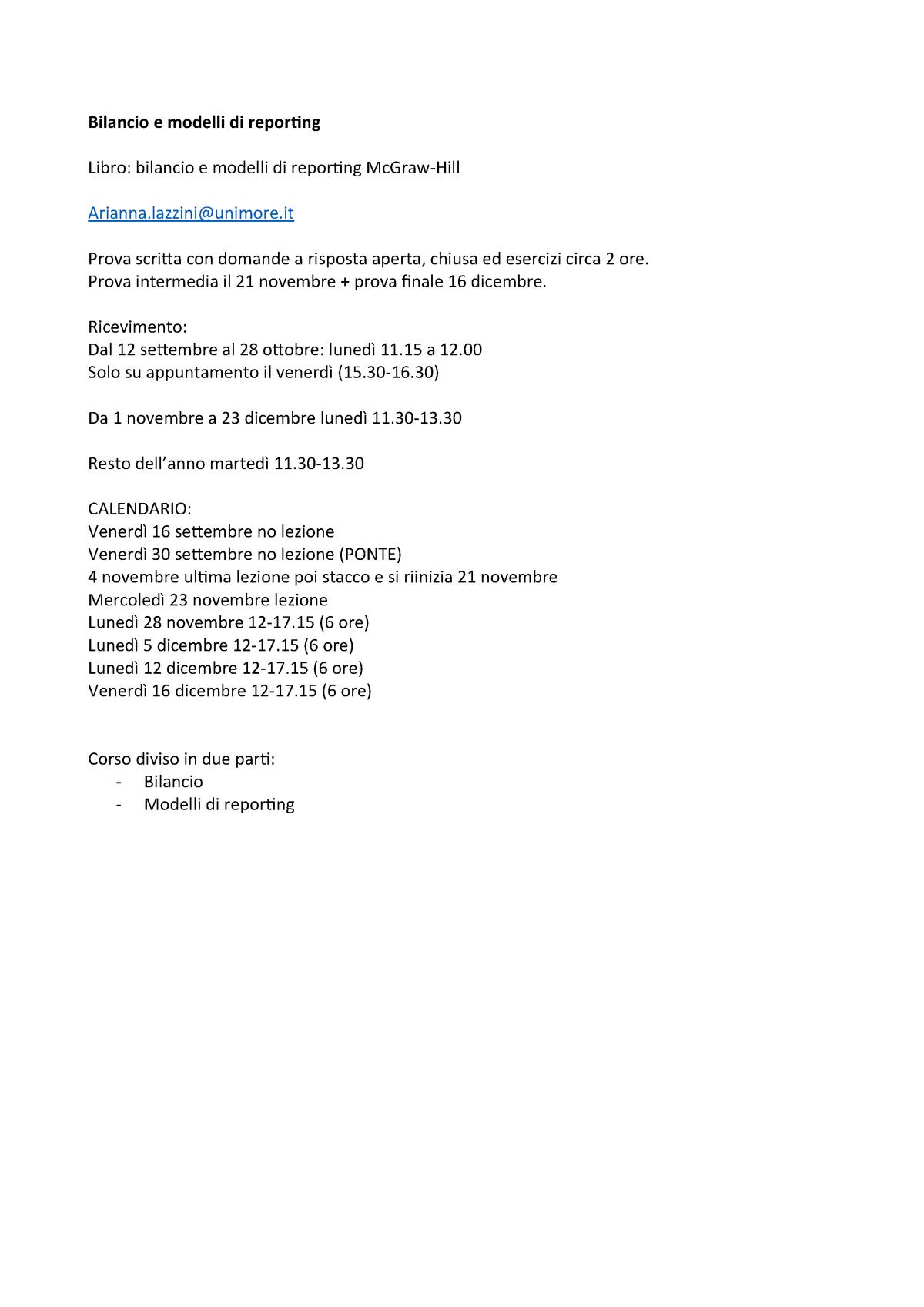Calendario Lezioni Unimore.Bilancio E Modelli Di Reporting Arianna Mazzini