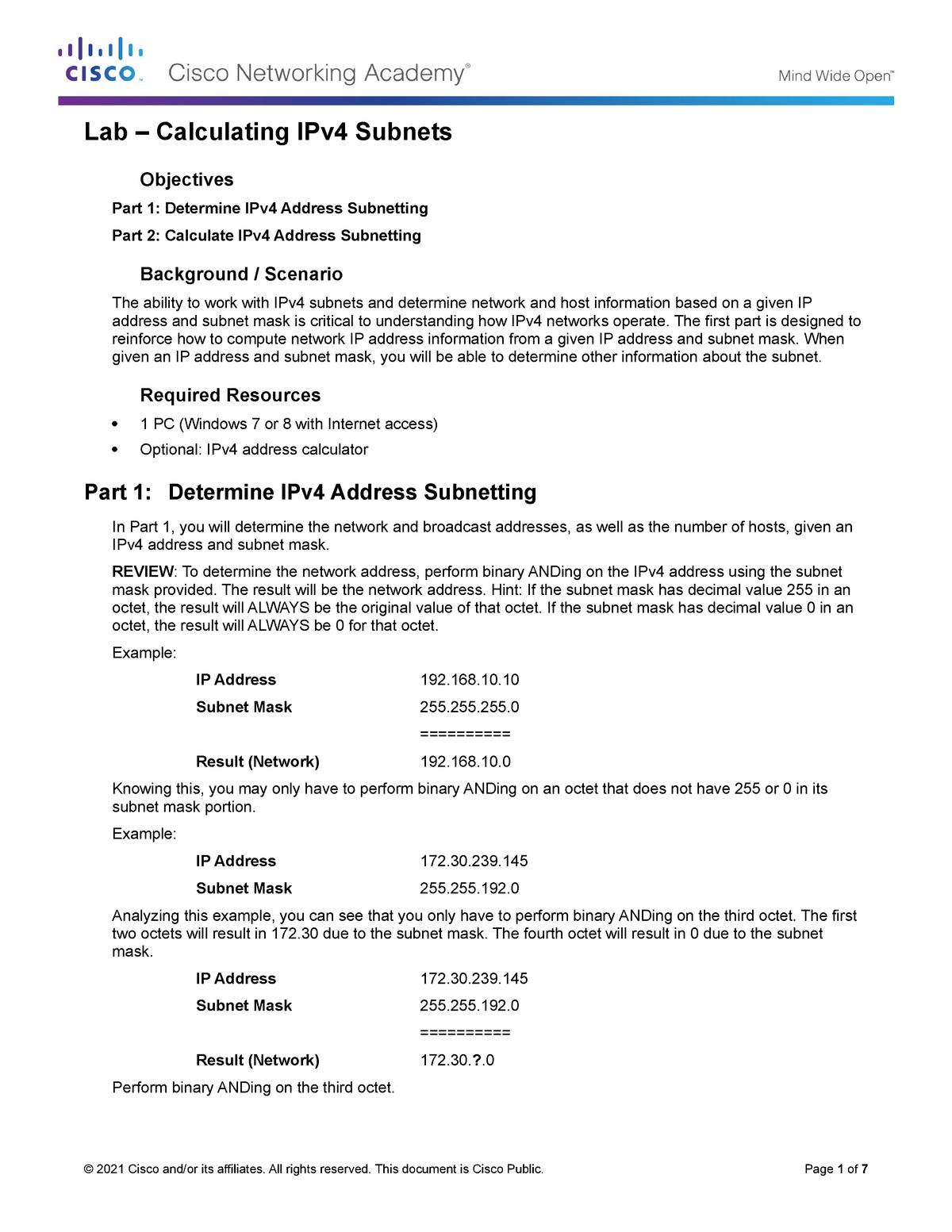 8 1 4 6 Lab - Calculating IPv4 Subnets - Software - StuDocu