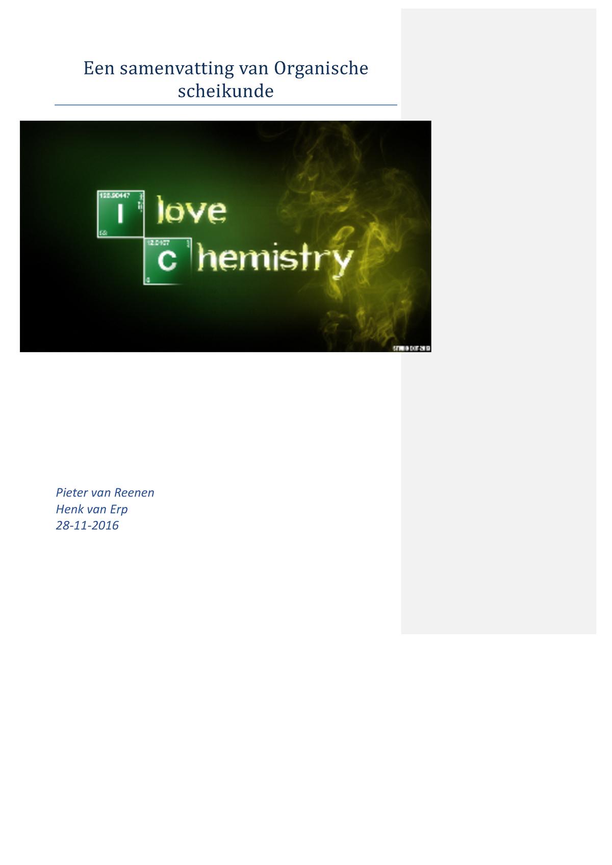 Organische Chemie Samenvatting Fontys Studocu
