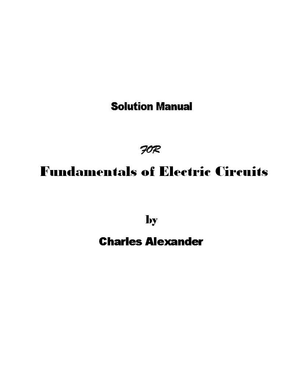 Fundamentals Of Electric Circuits Solution Manual 3rd Edition