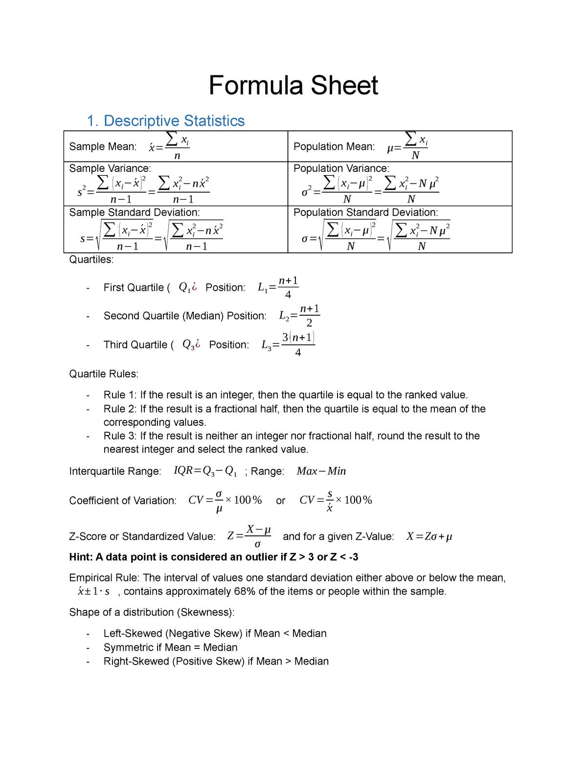 Formula Sheet - ECON1030 Business Statistics - RMIT - StuDocu