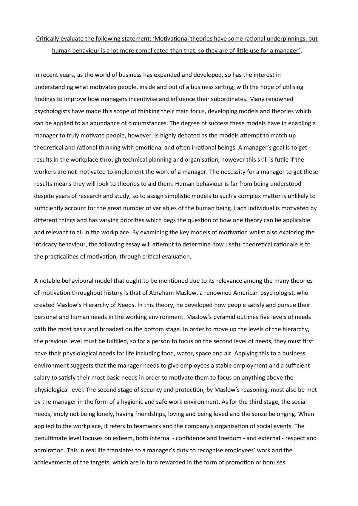 organisational behaviour essay pdf