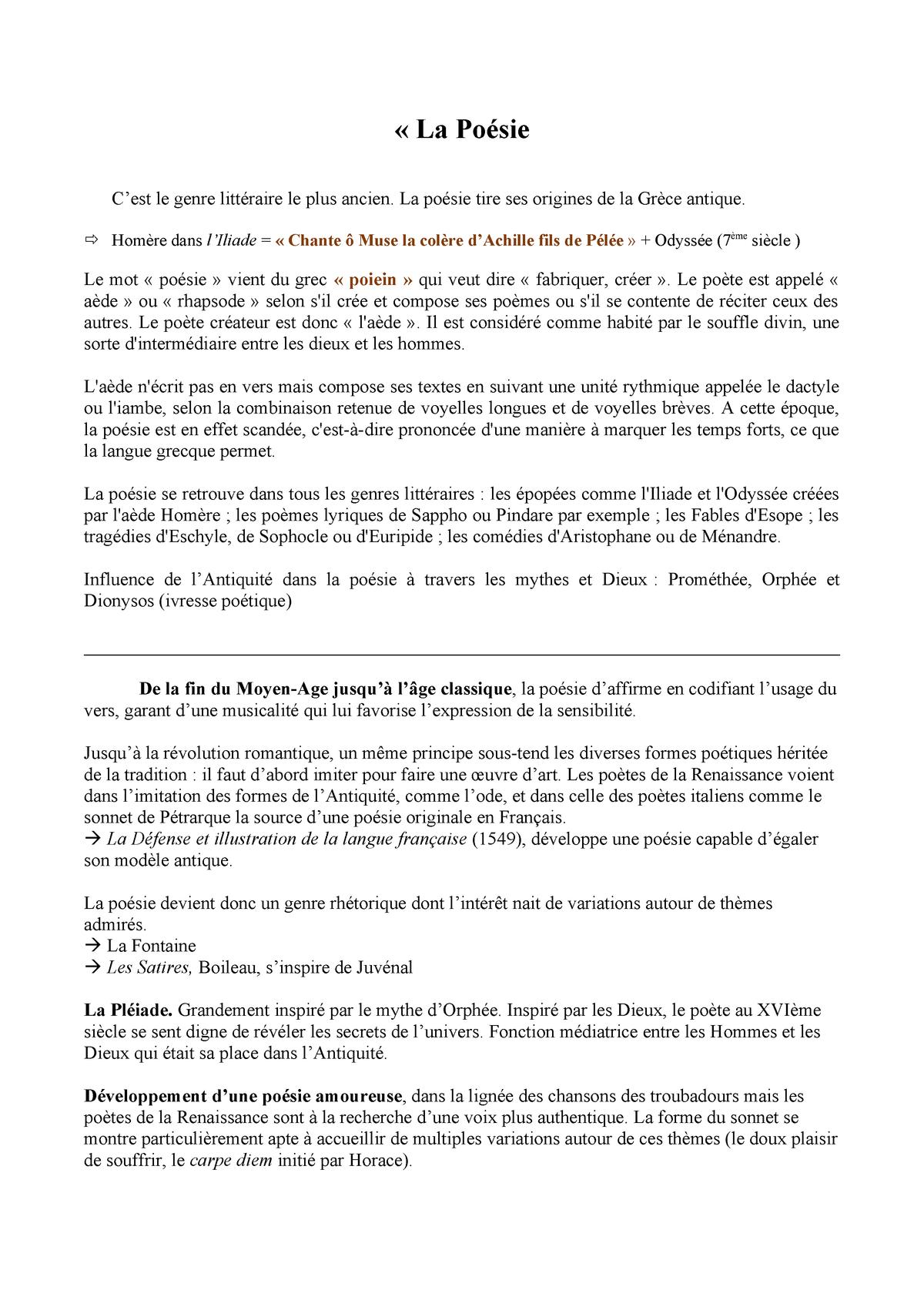 Cours Général Sur La Poèsie Littérature Française Studocu