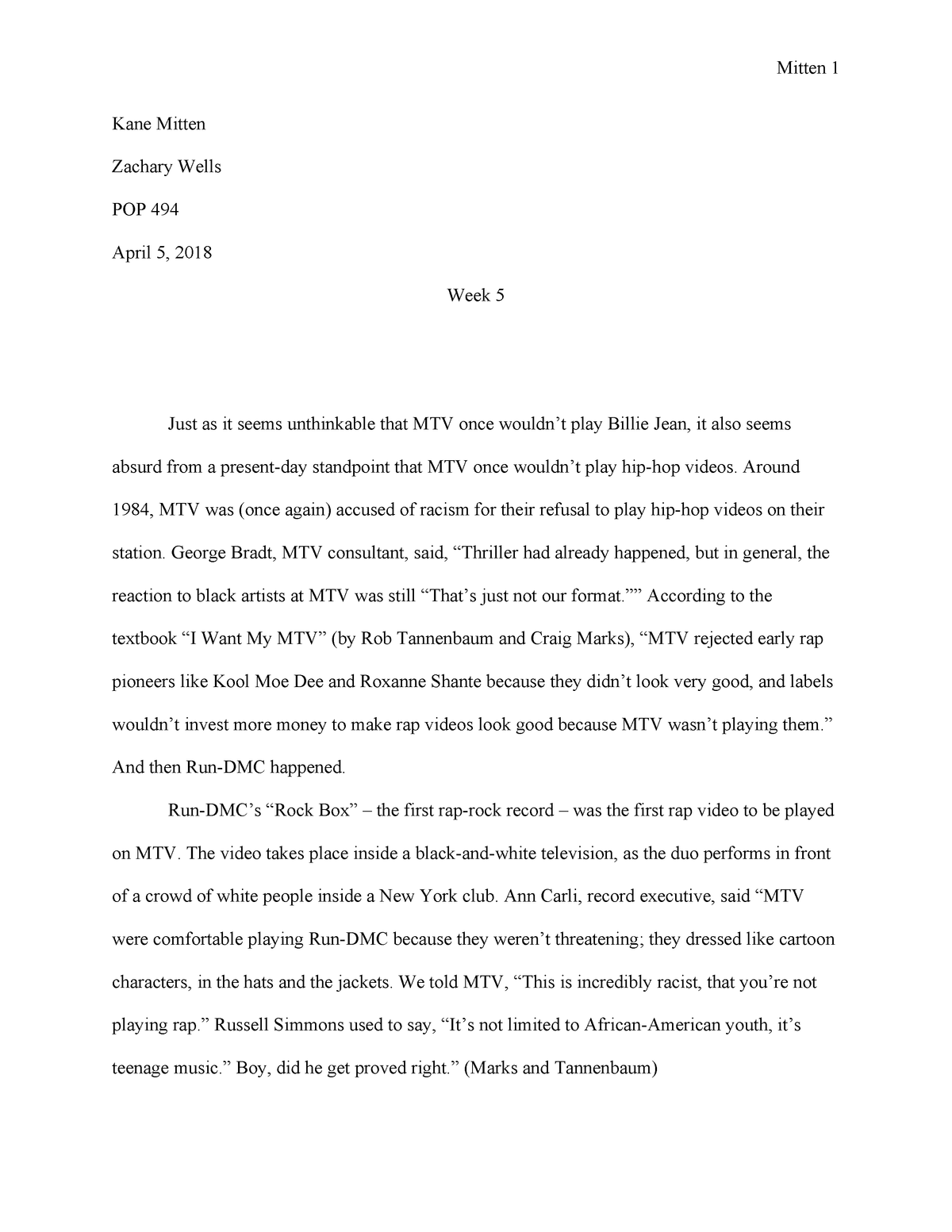 Pop paper week 5 - One of my weekly essays for the course