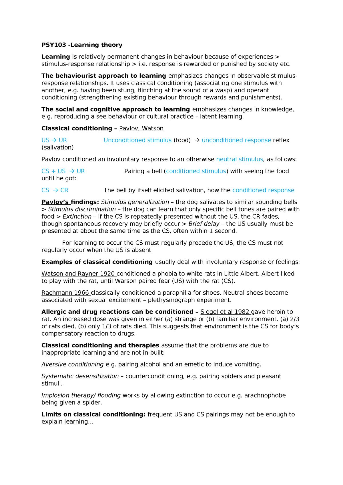 Learning theory - PY4103 - UEL - StuDocu